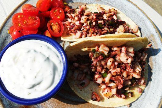Crispy calamari tacos a la Turca
