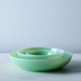 Jadeite Glass Shallow Bowls (Set of 4)