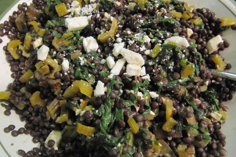 Warm Lentil Salad with Swiss Chard, Feta and Red Wine-Black Pepper Vinaigrette