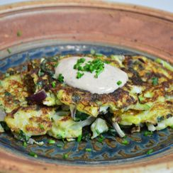 Cauliflower Zucchini Pancakes with Chipolte Mustard Yogurt