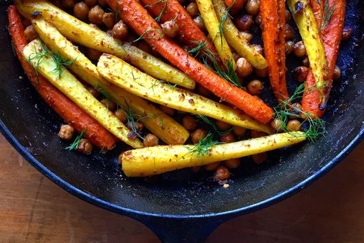 Sticky, Spicy, Sweet Roasted Carrots and Chickpeas with Date Vinaigrette