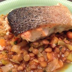 Ina Garten's Green Lentils and Salmon