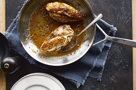 Chrissy Teigen's Crispy-Skinned Chicken With Lemon-Rosemary Pan Sauce
