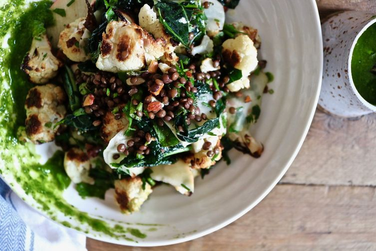 Black Lentil, Roasted Cauliflower, Kohlrabi & Apple Salad
