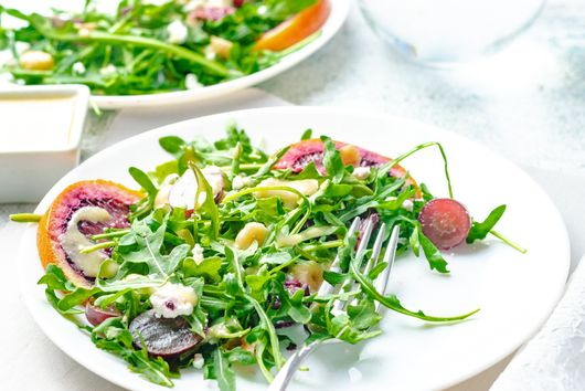 Arugula Salad with Grape, Blood Orange, & Goat Cheese