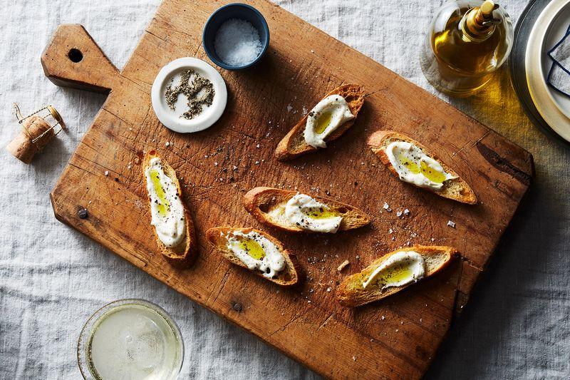 Ricotta Crostini with Olive Oil and Sea Salt