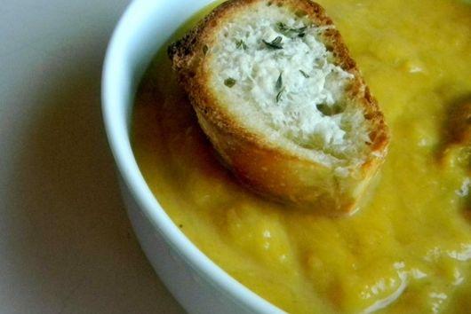Savory Squash Soup with Parmesan Croutons