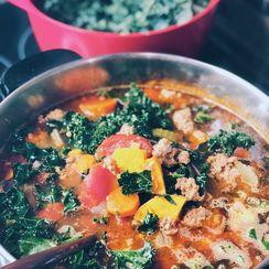 Chorizo, Kale, Sweet Potato Soup