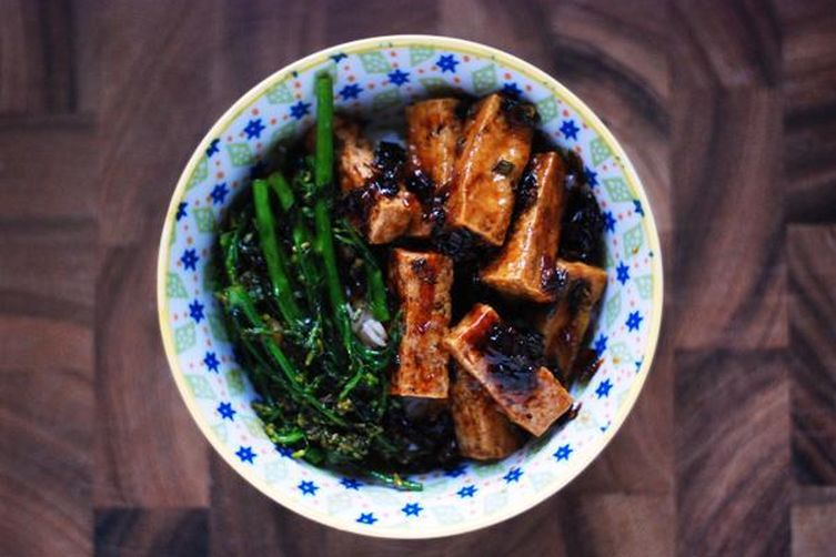 Hoisin-Lacquered Tofu with Broccoli