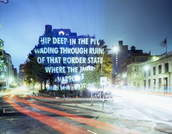 """For New York City,"" by Jenny Holzer, featuring ""To the Forty-third President,"" from ""Blackbird and Wolf,"" by Henri Cole. The Cooper Union, New York, 2004."