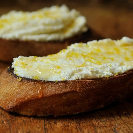 Crostini with Ricotta, Honey and Lemon Zest