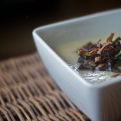 Allium Bisque with Frizzled Leeks & Rosemary