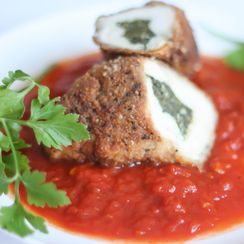 Stuffed Chicken Breast with Spinach and Tomato Sauce