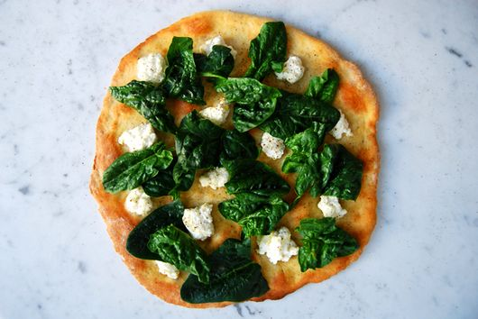 White Pizza with Winter Spinach, Ricotta and Olive Oil