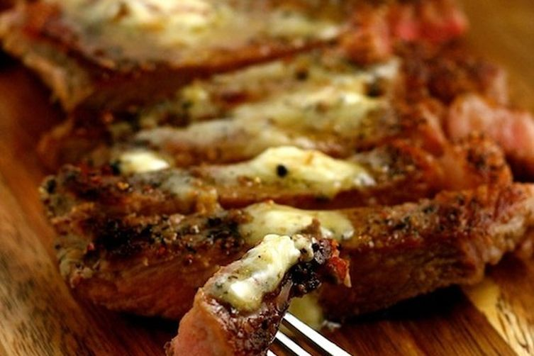 Peppered Steaks with Roasted Garlic Butter