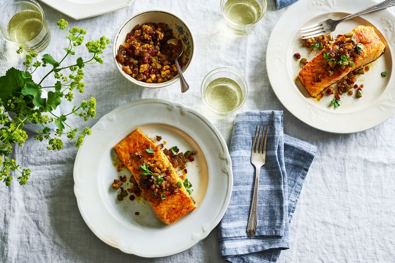 Weeknight salmon gains nuance from rich walnuts and tart barberries.