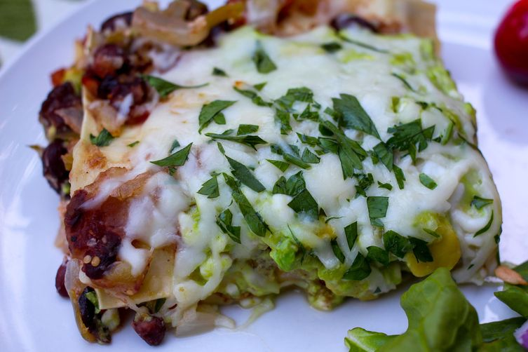 Avocado, Tomatillo, Tomato, and Black Bean Lasagna