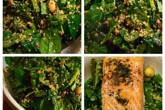 Broccolini, beans & macadamia salad.