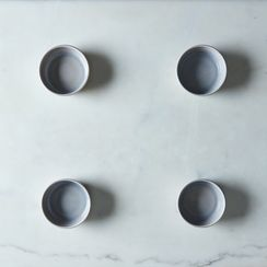 Grey Swirl Glass Shallow Bowls (Set of 4)