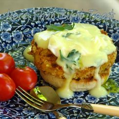 Crab Cake Eggs Benedict with Avgolemono Sauce
