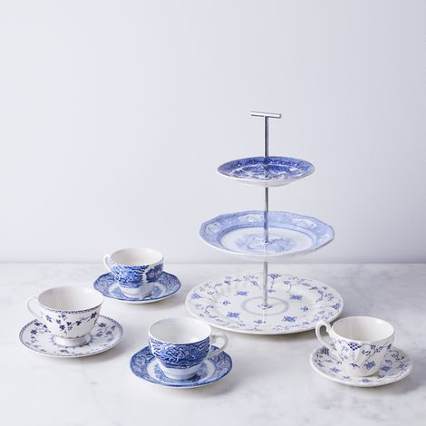 Vintage English Transferware 3-Tiered Stand and Teacups