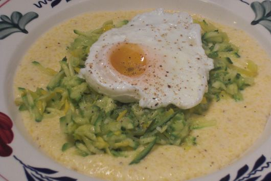 Soft Polenta with Zucchini and Poached Egg