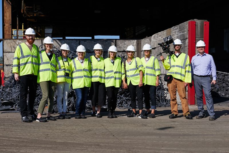 Our crew, visors down, at the Staub factory in France.