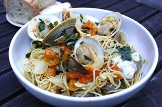 B9c346d9 8261 4b1f 9590 55f2aef6ce11  joseph fisheries little neck clams with taliaferro farms sungold tomatoes basil garlic and spaghetti