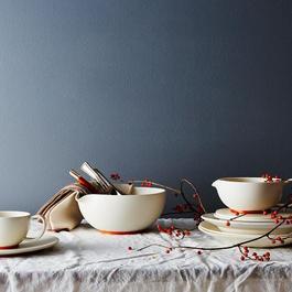 White and Copper Ceramic Gravy Bowl
