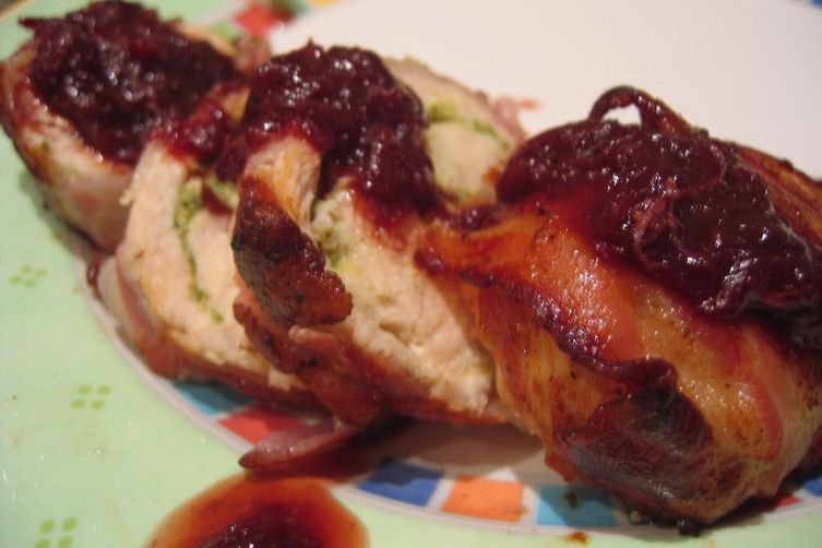 Proscuttio Wrapped Chicken Stuffed w/ Feta & Mint -- Doused in a 3-Day Blood Orange Reduction