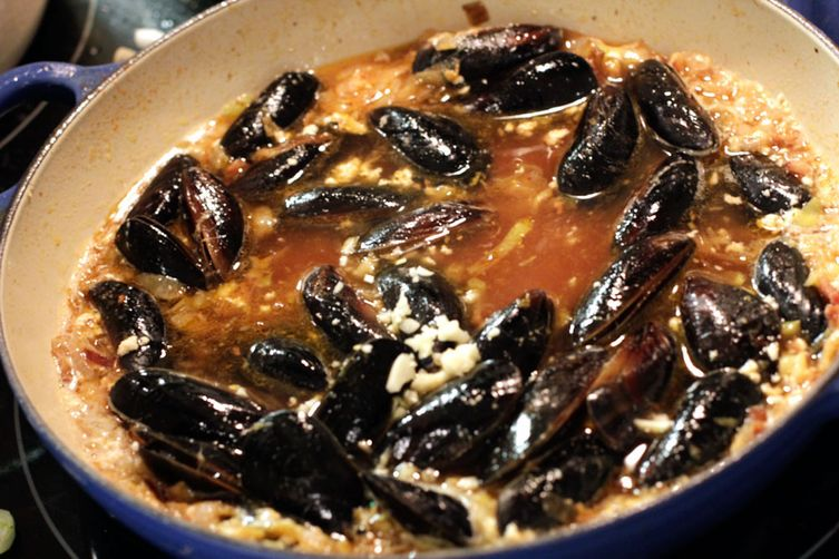 Southern Spring Moules with Cornbread Batons