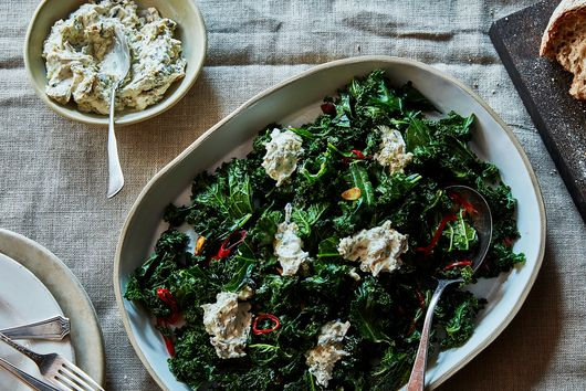 Yotam Ottolenghi & Ramael Scully's Burnt Green Onion Dip With Curly Kale