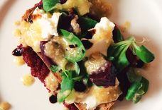 Beetroot Toast with Buffalo Mozzarella & Walnut Pesto