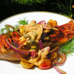 A cool cherry paprikash sauce for salmon