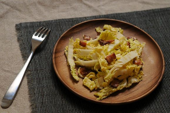 Napa Cabbage Salad with Hot Bacon Dressing