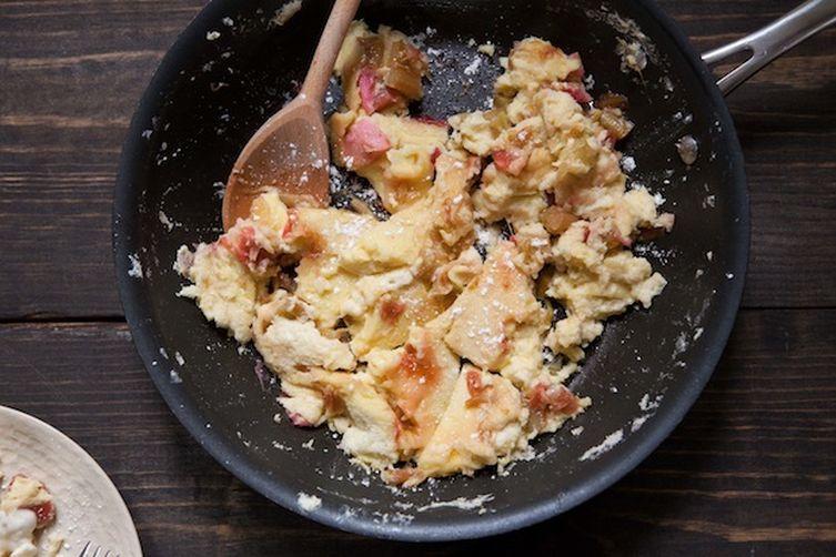Rhubarb Kaiserschmarrn (Austrian Pancakes)