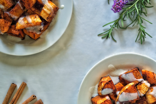 Roasted Butternut Squash with Coconut Drizzle and Saigon Cinnamon
