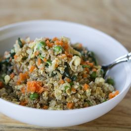 "Quinoa ""Fried Rice"" with Broccoli, Carrots, Sesame"