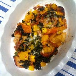 Eggless Strata with Butternut, Sausage, Kale and Fontina