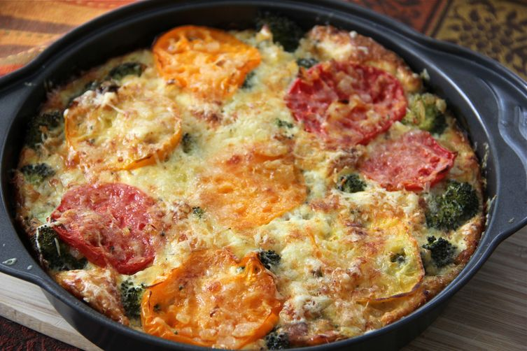 Frittata With Broccoli And Heirloom Tomatoes