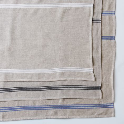 Oatmeal Linen Striped Tablecloth & Runner