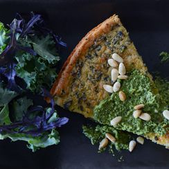 Chard farinata with leafy greens pesto