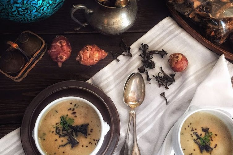 Topinambour  Soup with Black Trumpets