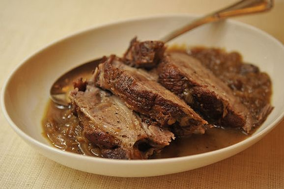 Cider- Braised Pork Shoulder with Caramelized Onion and Apple confit