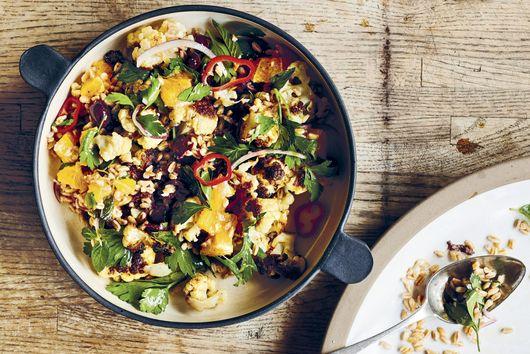 Paul Kahan's Grains With Roasted Cauliflower, Black Olives & Oranges