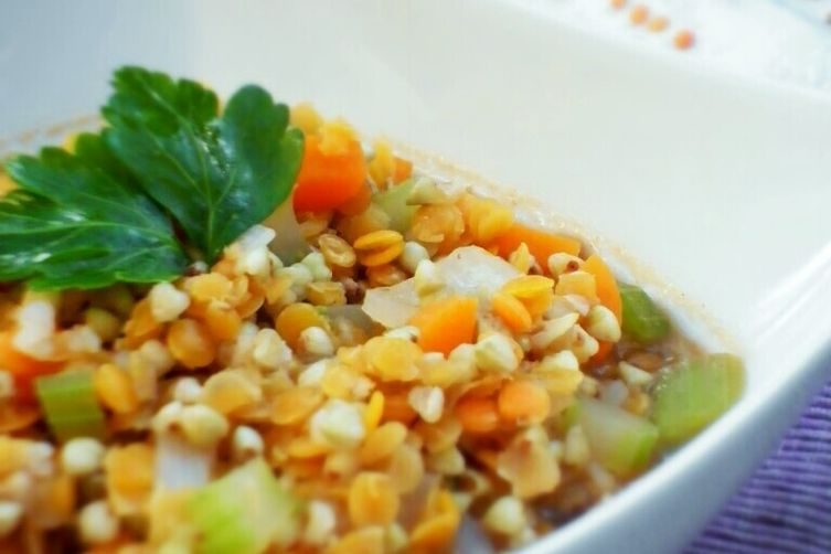 Buckwheat and red lentils soup