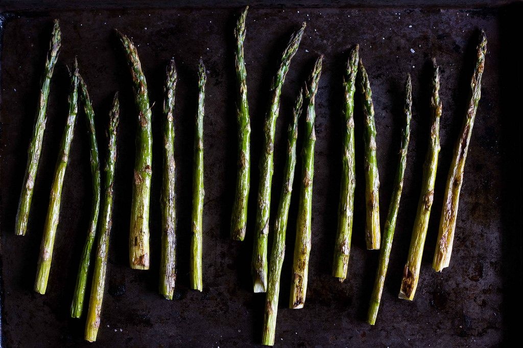 Asparagus with Chopped Egg and Torn Bread from Food52