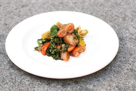 Warm Potato Apple Salad with Kale and Roasted Shallot Vinaigrette