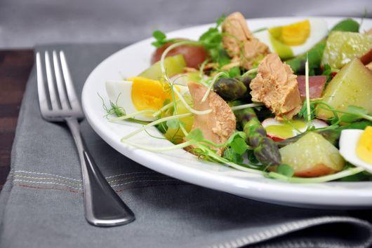 Pea Shoot, Asparagus, and New Potato Salad with Tuna