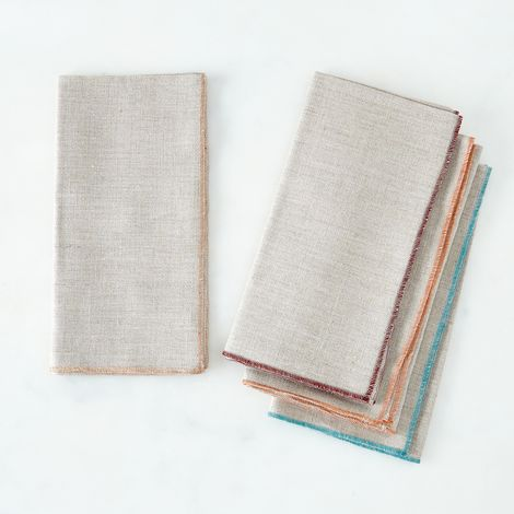 Trimmed Gray Linen Napkins (Set of 4)